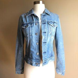 AG The Robyn Soleil Distressed Cotton Denim Jacket